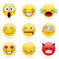 Smile icon. Smiley faces expressing different feelings Royalty Free Stock Photo