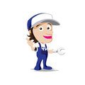 Smile mechanic man with tool in hand, thumb up vector