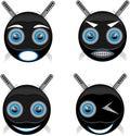 Smile ninja, blue stroke