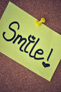Smile Note on Pinboard Royalty Free Stock Photo