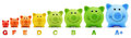 Smile piggy bank scale class color energy savings Royalty Free Stock Photo