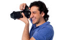 Smile Please! Man practicing his hobby. Royalty Free Stock Photo