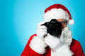 Smile please time for a sweet click say cheese santa capturing perfect moment Stock Images