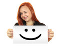 Smile smiling young woman holding up white banner Stock Photo