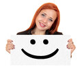 Smile smiling young woman holding up white banner Royalty Free Stock Images