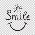 Smile text vector icon. Hand drawn illustration on isolated back