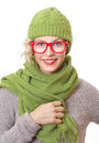 Smile trendy woman wearing eyewear with wool scarf and cap isolated on white background girl winter clothing studio shot Stock Image