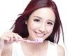 Smile woman brush teeth Royalty Free Stock Photo