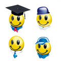 Smile yellow faces and cap Royalty Free Stock Photos