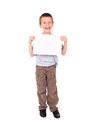 Smiled boy with blank sheet Stock Photos