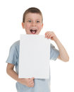 Smiled boy with blank sheet paper Stock Image