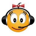 Smiled girl headphone sign Royalty Free Stock Photo