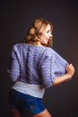 Smiled girl in violet jacket Royalty Free Stock Photo
