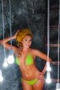 Smiled model in knitted bikini Royalty Free Stock Photo