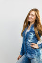 Smiled nice girl with denim clothes. Royalty Free Stock Photo