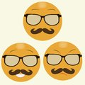 Smiles with hipster s glasses and moustache set of Stock Image