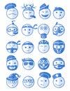 20 smiles icons set profession blue Royalty Free Stock Photo