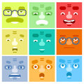 Smiles Set Avatar Emotions Happy Surprised Mustache Angry Adult Character Symbol Business Icon Isolated White Background Royalty Free Stock Photo