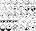 Smiles set of doodle on white background Stock Images