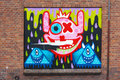 Smiley aliens and pyramid street art at the hague netherlands Royalty Free Stock Photo