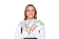 Smiley businesswoman holding paper money Royalty Free Stock Photography