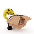 Smiley with a cardboard box who is on white background Royalty Free Stock Image