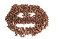 Smiley of coffee beans on a white background Stock Images
