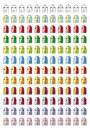 Smiley. Collection of 11 pictograms of various emoticons in 12 color tones. Royalty Free Stock Photo