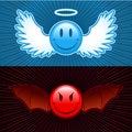 Smiley di malvagità e buon Fotografia Stock Libera da Diritti