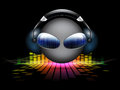 Smiley dj on equalizer background Royalty Free Stock Photo