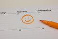 Smiley drawing on calender Royalty Free Stock Photo