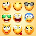 Smiley,emoticons set. Yellow face with emotions. Facial expression. 3d realistic emoji. Funny cartoon character.Mood