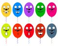 Smiley face balloon. Funny colorful balloons with faces and smiles. Vector illustrations. Royalty Free Stock Photo