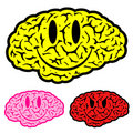 Smiley face brain icon set Royalty Free Stock Photography