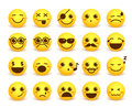 Smiley face cute vector emoticon set with happy facial expressions
