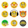 Smiley face emoji flat vector icons set Royalty Free Stock Photo