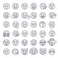 Smiley face emoji thin lines flat vector icons set Royalty Free Stock Photo