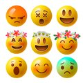 Smiley face emoji or yellow emoticons in glossy 3D realistic isolated in white background, vector. Royalty Free Stock Photo