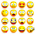 Smiley face and emoticon simple set with facial expressions Royalty Free Stock Photo