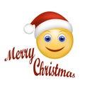 Smiley Face happy Santa Claus. Face emoticon wearing Santa hat.