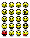 Smiley face icon set maximum emotion from minimalist emoticons happy sad big grin devil even a rofl rolling on the floor laughing Royalty Free Stock Image