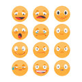 Smiley face icons  on white background Royalty Free Stock Photo