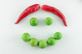 Smiley face made by vegetable Royalty Free Stock Photo