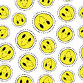 Smiley face retro patch icon seamless pattern s style hand drawn with icons in yellow color happy smile design emoji background Royalty Free Stock Image