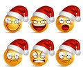 Smiley face of santa claus emoticons with set of facial expressions for christmas Royalty Free Stock Photo
