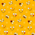 Smiley face seamless pattern with funny facial expressions