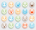 Smiley face vector emoticon set in white flat icon sticker Royalty Free Stock Photo