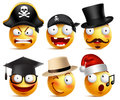 Smiley face vector set of funny toothless pirate, magician, graduate