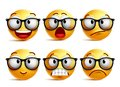 Smiley face vector set of yellow nerd emoticons with eyeglasses Royalty Free Stock Photo