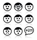 Smiley faces avatar icons set collection of man boy happy sad angry Stock Images